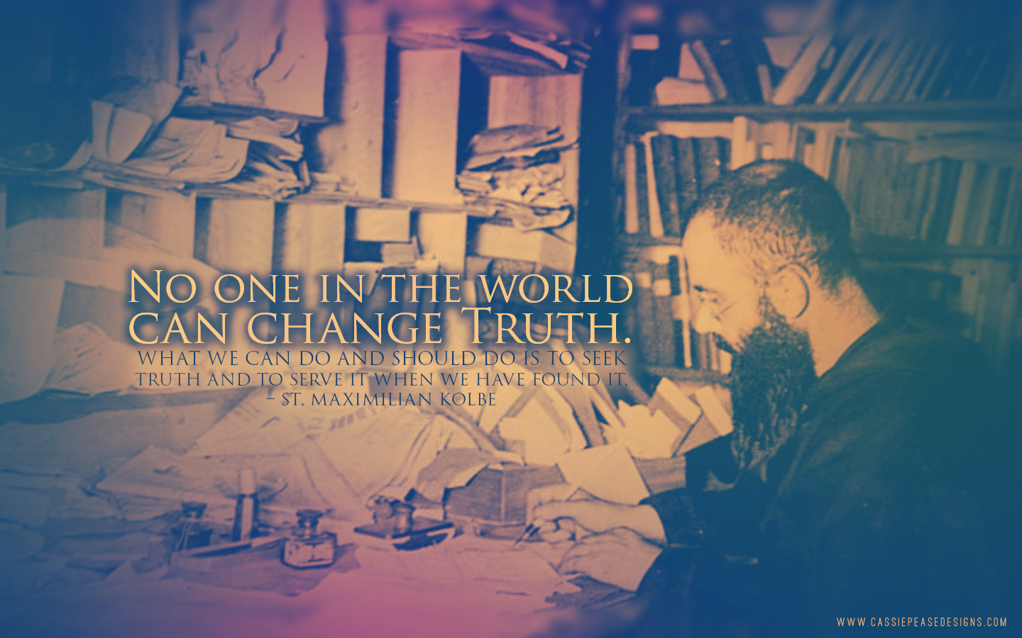 "St. Maximilian Kolbe ""Truth"" Desktop Wallpaper"
