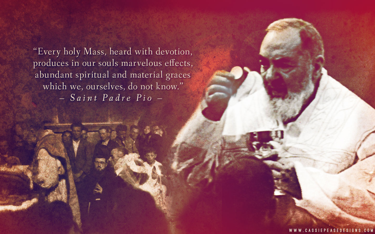 "St. Padre Pio ""Mass"" Desktop Wallpaper"