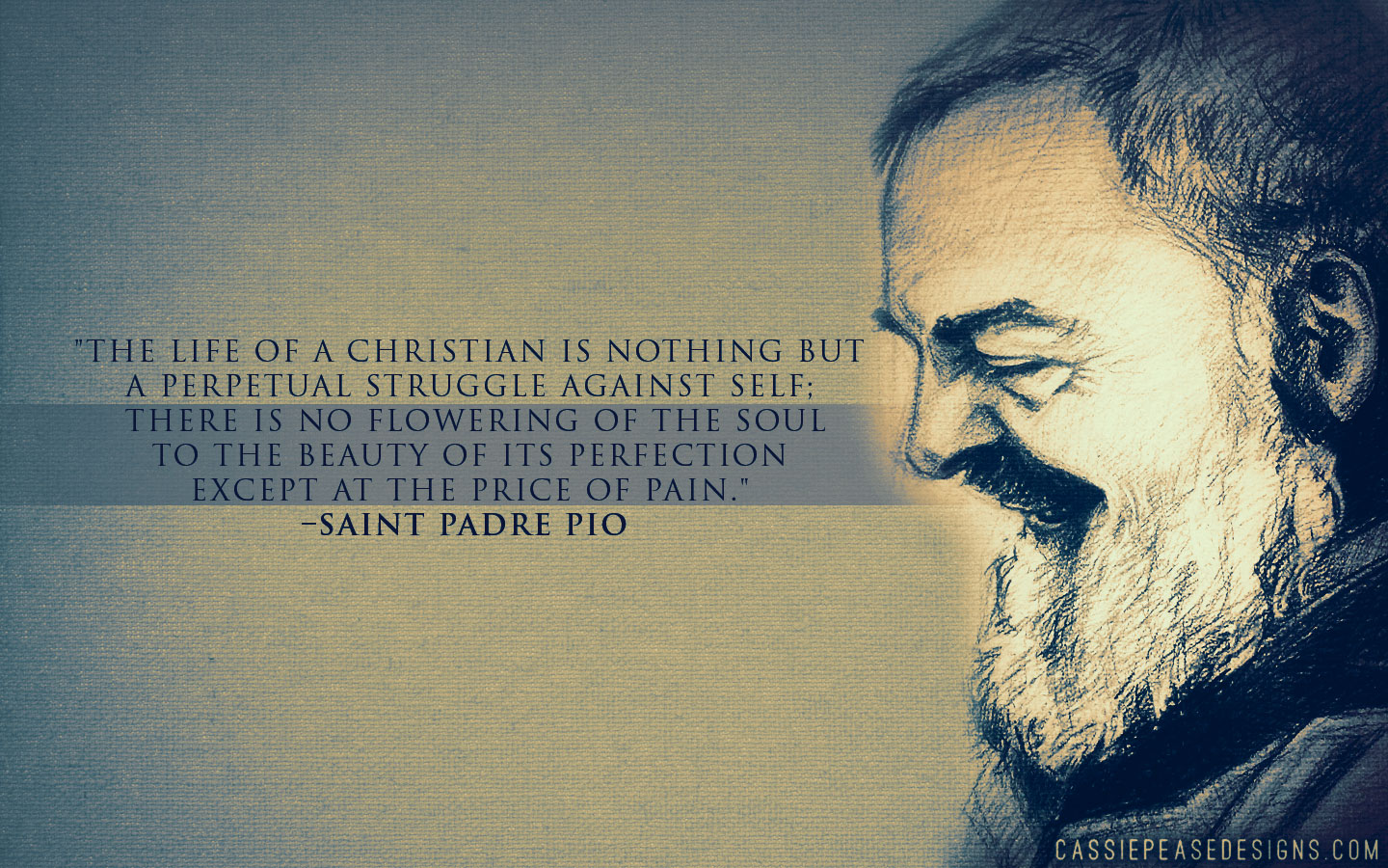 St. Padre Pio (blue) Desktop Wallpaper