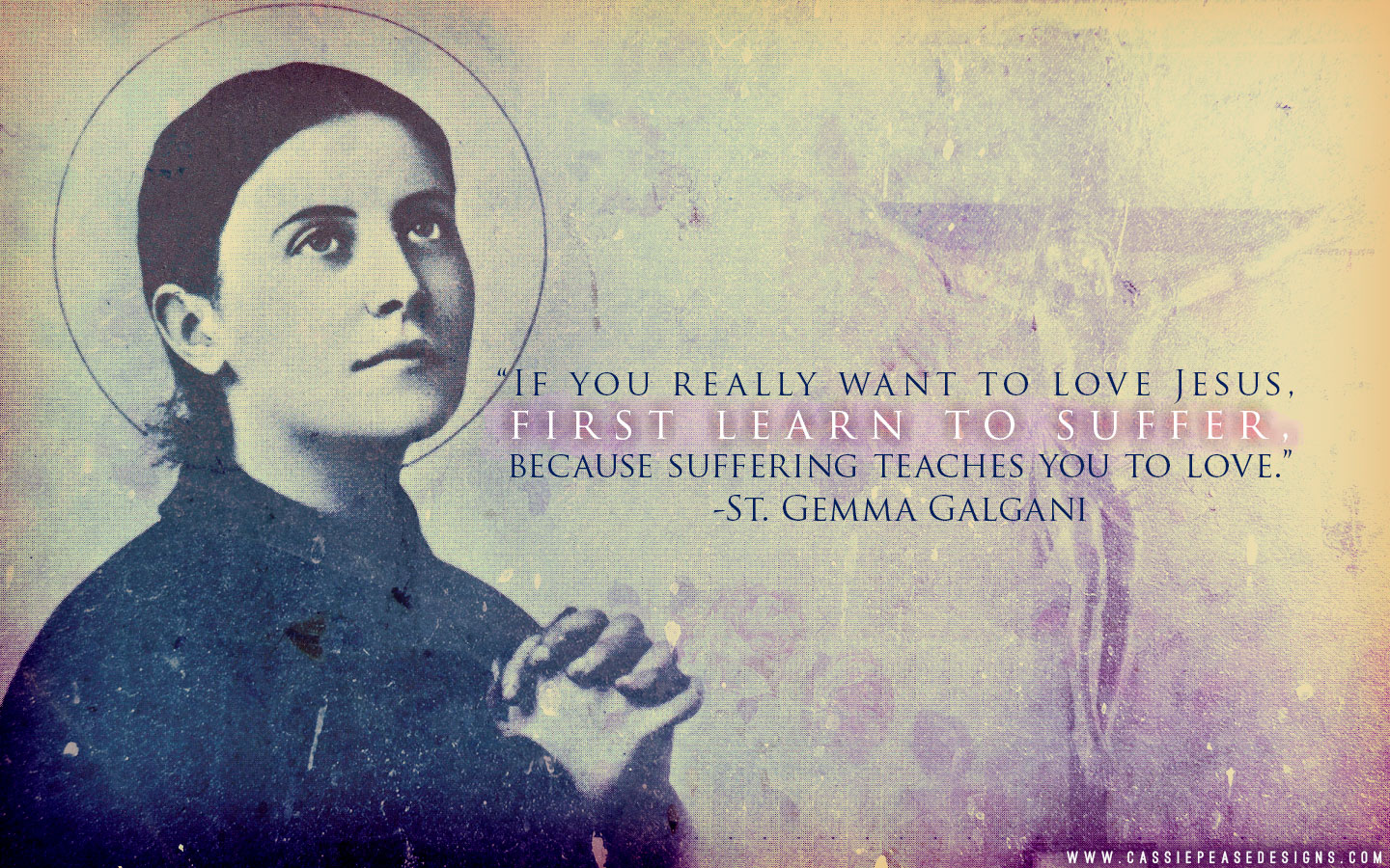 "St. Gemma Galgani ""Suffering Teaches Love"" Desktop Wallpaper"