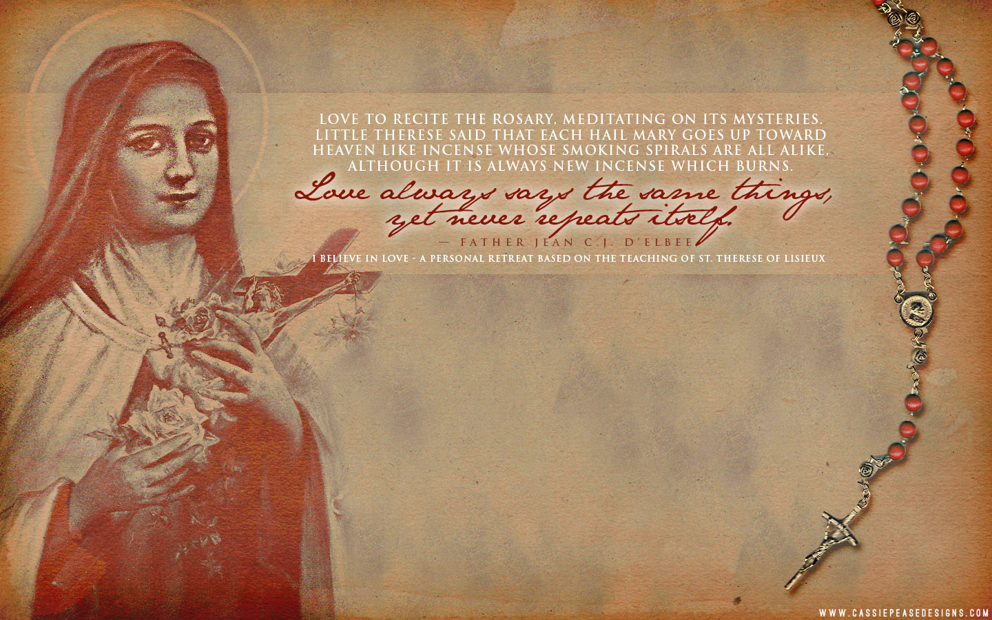"St. Therese ""Rosary"" Desktop Wallpaper"