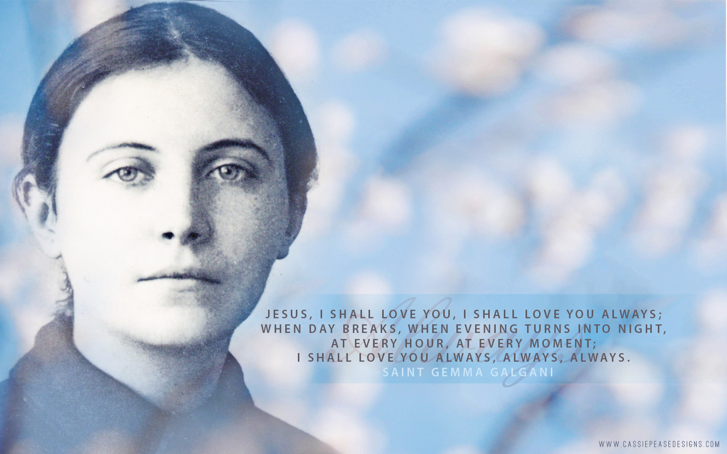 Saint Gemma Galgani (blue) Desktop Wallpaper
