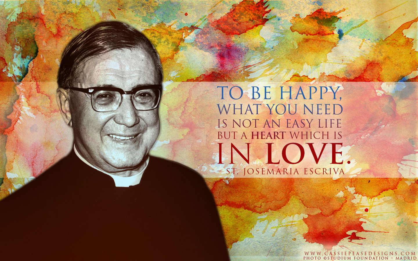 "St. Josémaria Escriva ""Heart in Love"" Desktop Wallpaper"