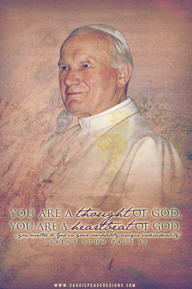 """JPII """"Heartbeat of God"""" Mobile Wallpaper"""