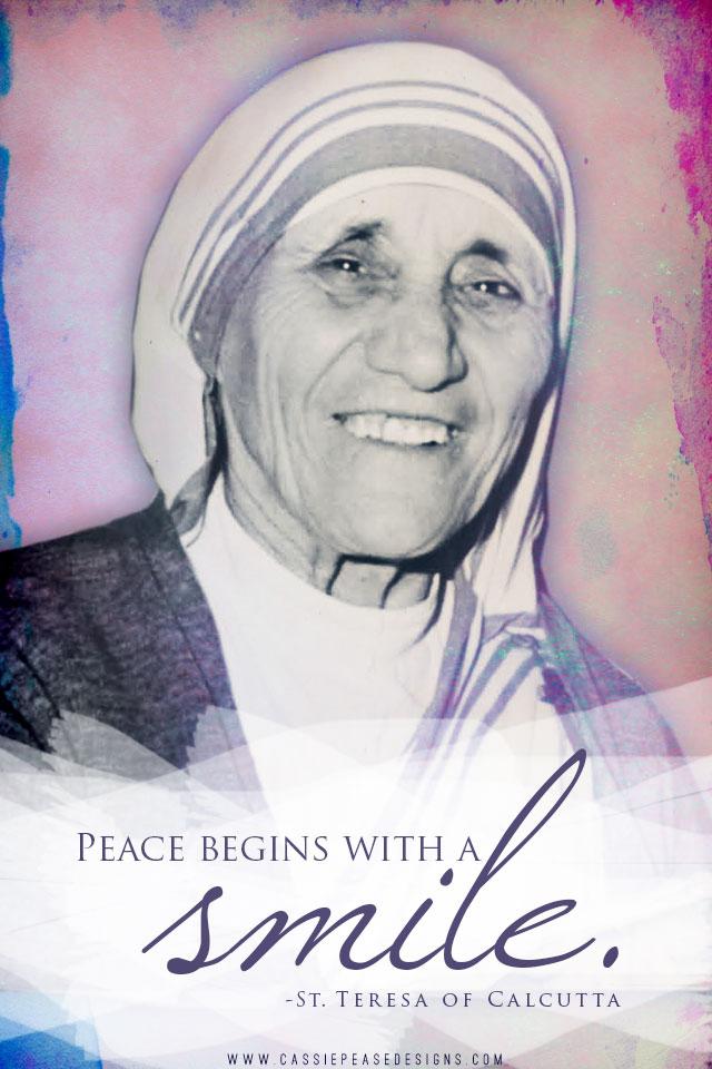 "Mother Teresa ""Smile"" Mobile Wallpaper"