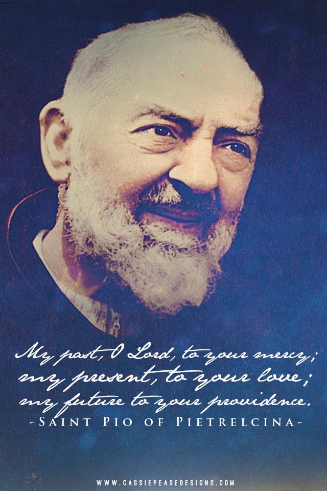 Padre Pio (blue) Mobile Wallpaper