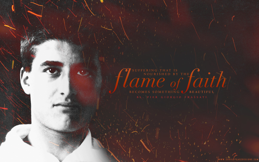"Bl. Pier Giorgio Frassati ""Flame of Faith"" Desktop Wallpaper"