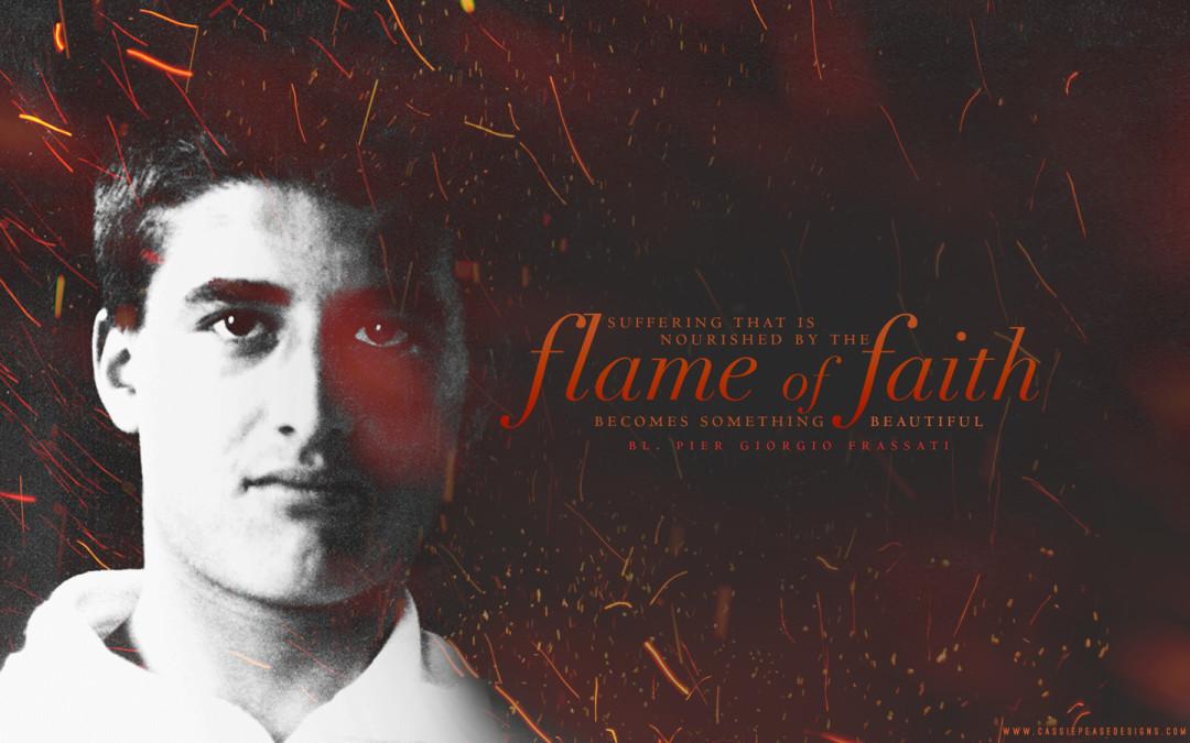 "Bl. Pier Giorgio Frassati ""Flame of Faith"" Desktop Wallpaper"