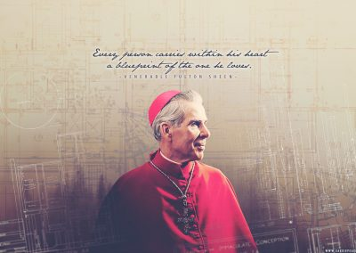 "Ven. Fulton Sheen ""Blueprint"" Desktop Wallpaper"