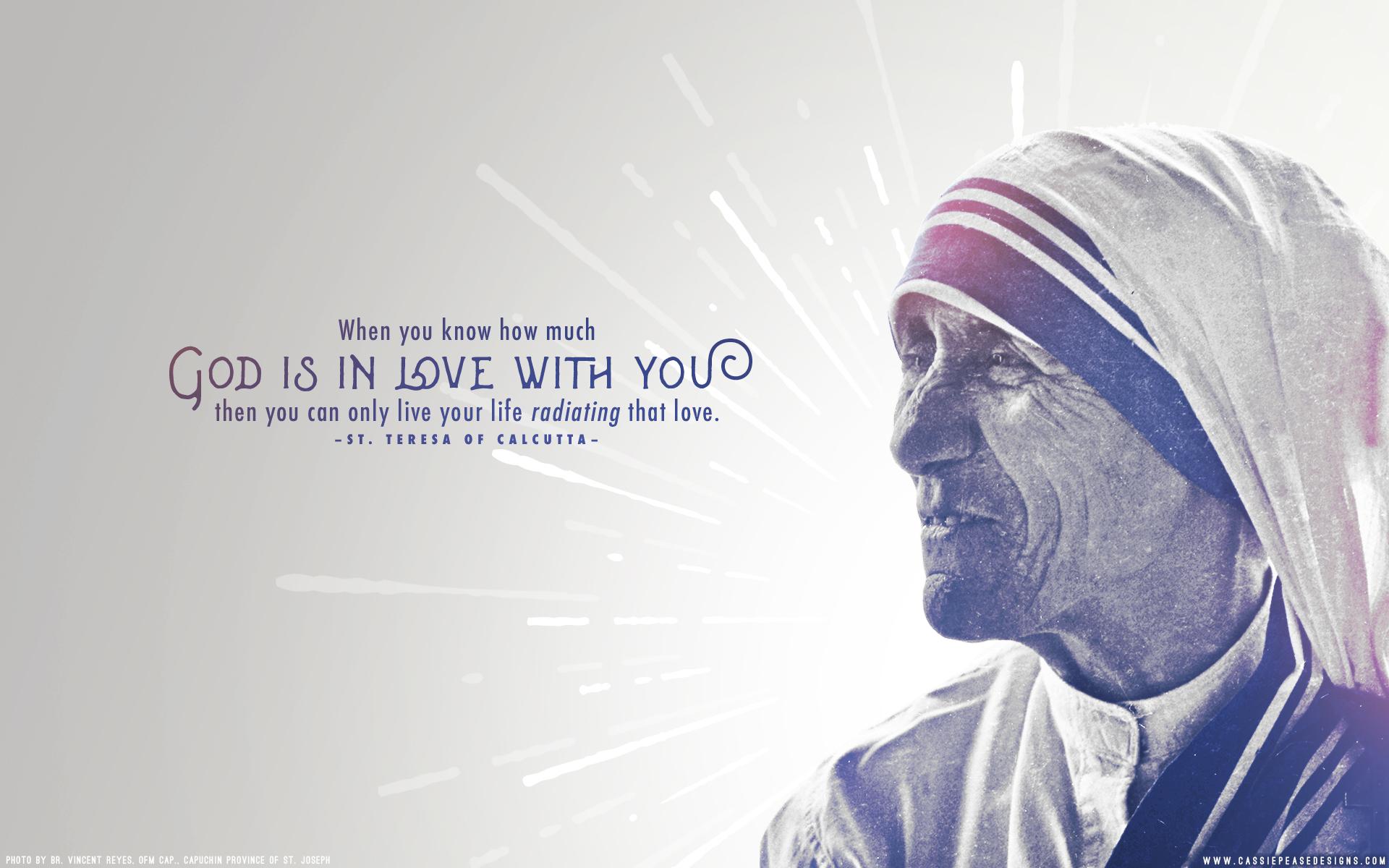 Mother Teresa Radiating Love Desktop Wallpaper Cassie Pease Designs